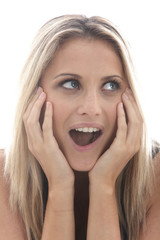 Model Released. Surprised Happy Young Woman