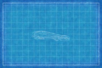 Metal carabiner - Blue Print