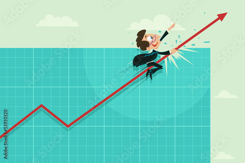 Businessman Riding on Profit Arrow