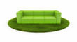 Green sofa on green field