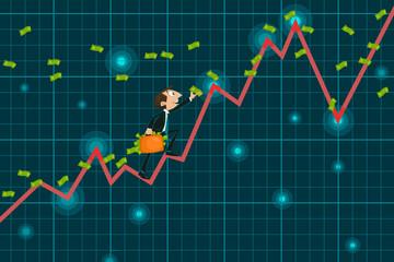 Businessman catching money climbing upward Graph