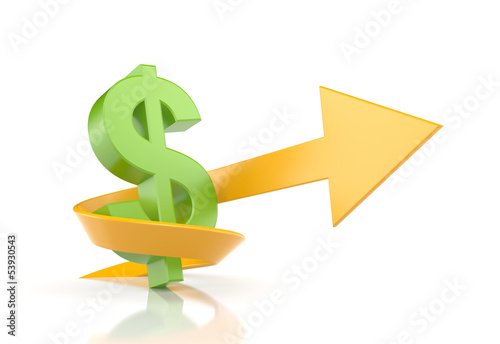 Dollar sign with arrow. Symbolize growth