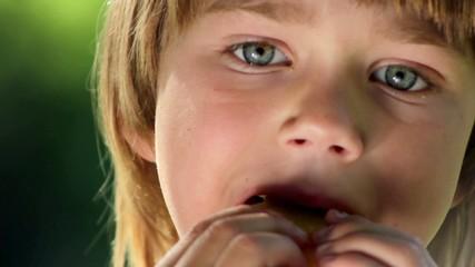 boy eats pancakes(portrait )