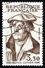 Postage stamp France 1983 Martin Luther German Priest