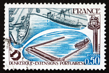 Postage stamp France 1977 Dunkirk Harbor