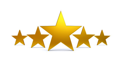3D Golden Five Stars