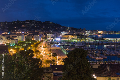 Cityscape by night from Cannes, France