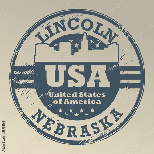 Grunge rubber stamp with name of Nebraska, Lincoln, vector