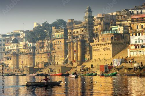 Leinwanddruck Bild on the river Gange in Varanasi