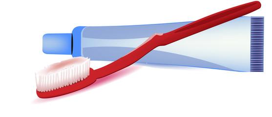 tubetto dentifricio e spazzolino