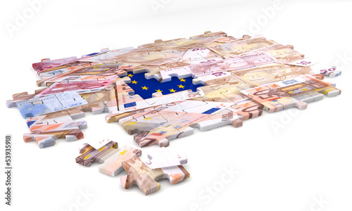 Concept of jigsaw puzzle European flag and money