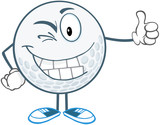 Winking Golf Ball Cartoon Character Holding A Thumb Up