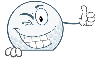 Winking Golf Ball Holding A Thumb Up Over Sign