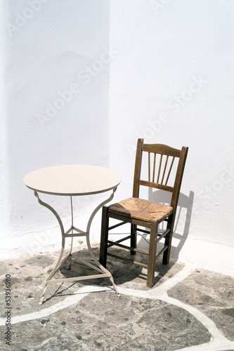 Traditional table and chair located on Mykonos island, Greece