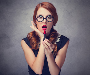 Redhead women with lipstick