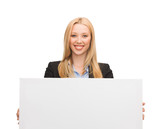 businesswoman with white blank board