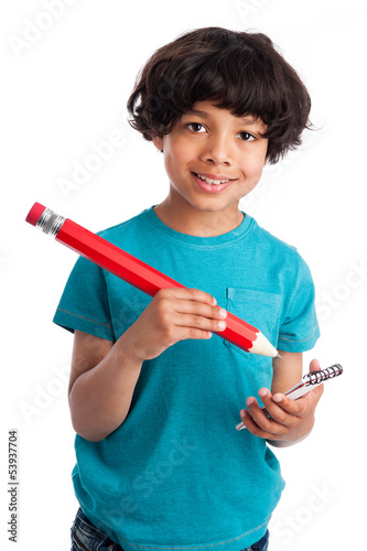 Cute Mixed Race Kid with Giant Pencil.