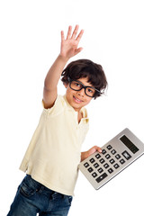 Cute Mixed Race Boy with Calculator.