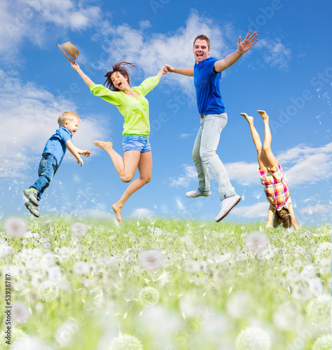 family jump in the summer