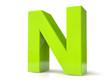Green 3d letter - N