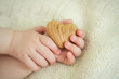 tiny baby hands to hold the wooden heart