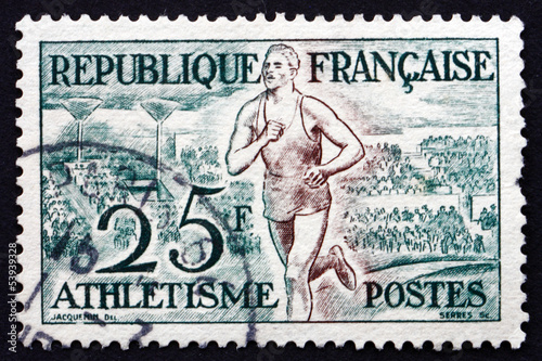 Postage stamp France 1953 Track, Athletics