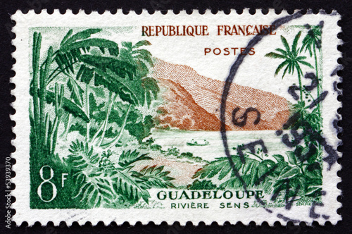 Papiers peints Riviere Postage stamp France 1957 View of Sens River, Guadeloupe