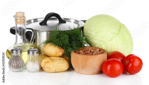 Ingredients for cooking borsch isolated on white