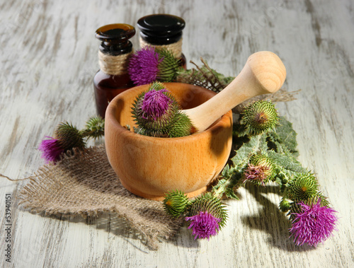 Medicine bottles and mortar with thistle flowers