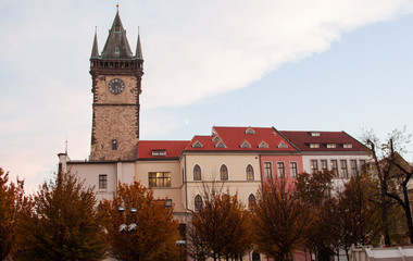 Ancient tower with clock in a Prague