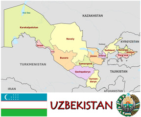 Uzbekistan Asia national emblem map symbol motto
