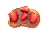 toast with chocolate paste and strawberry slices isolated