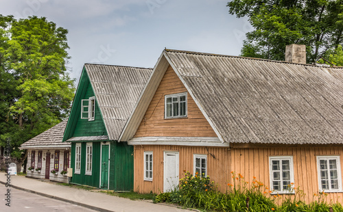 Traditional wooden houses in Trakai, Lithuania