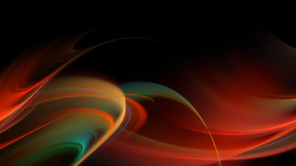 Abstract fiery waves on dark background
