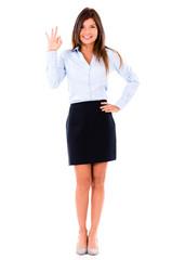 Business woman making an ok sing