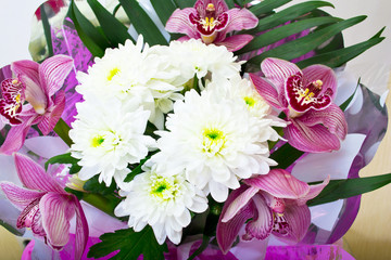 Bouquet of orchids and chrysanthemums isolated on white backgrou