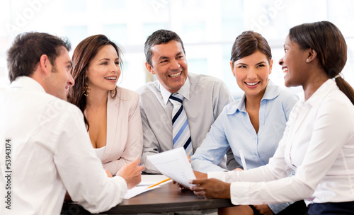Happy people in a business meeting