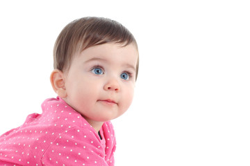 Portrait of a beautiful baby with blue eyes