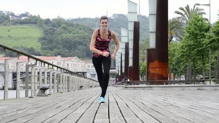 Young Woman Preparing to Run.