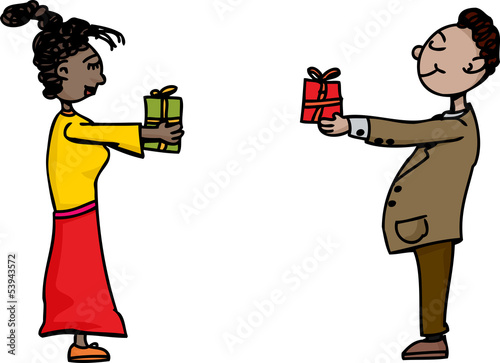 People Exchanging Gifts
