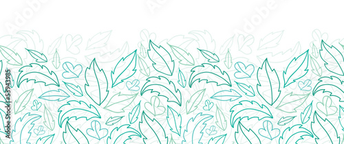Vector leaves lineart horizontal seamless pattern background
