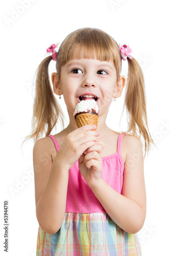 little girl eating ice cream in studio isolated