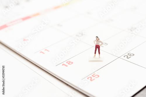 カレンダーと女性