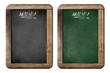 old small menu blackboards or chalkboards isolated with clipping
