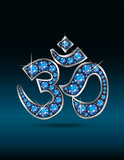 Om Symbol in Silver with Aquamarine Stones