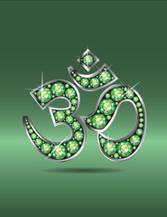 Om Symbol in Silver with Peridot Stones