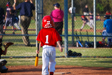 Little league batter from behind