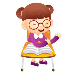 The girl sat down on the chair. From the desk is talking. Educat