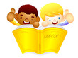 Male children are holding a big book. Education and life Charact