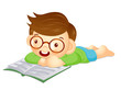 Boy is reading a big book lying face down. Education and life Ch